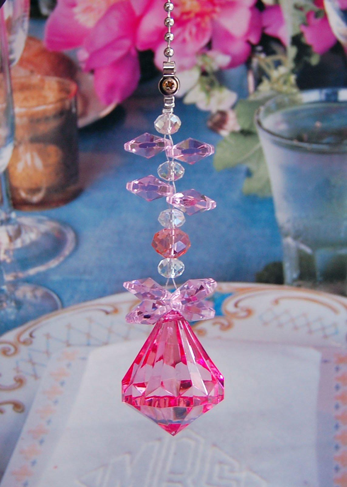2 of Crystal Diamond Ceiling Lighting Fan Pulls Chain - Pink