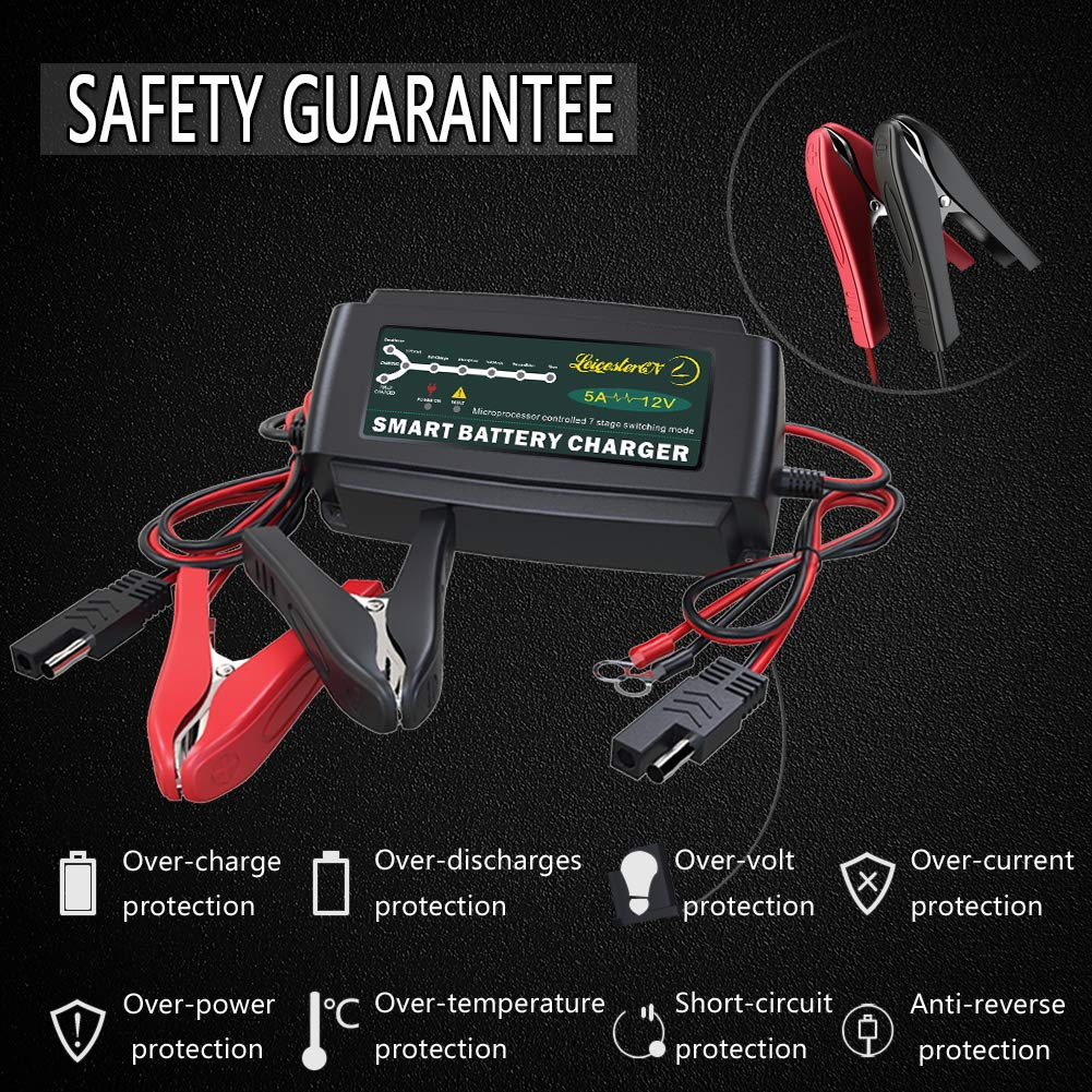 LST 12V 5A Automatic Battery Charger Maintainer Smart Portable Deep Cycle Trickle Charger for Automotive Car Boat Motorcycle Lawn Mower RV SLA ATV AGM GEL CELL WET& FLOODED Lead Acid Battery by LEICESTERCN (Image #4)