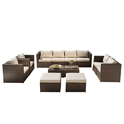 Excellent Supernova 12 Pcs Outdoor Rattan Wicker Sofa Sectional Patio Garden Furniture Set Inzonedesignstudio Interior Chair Design Inzonedesignstudiocom