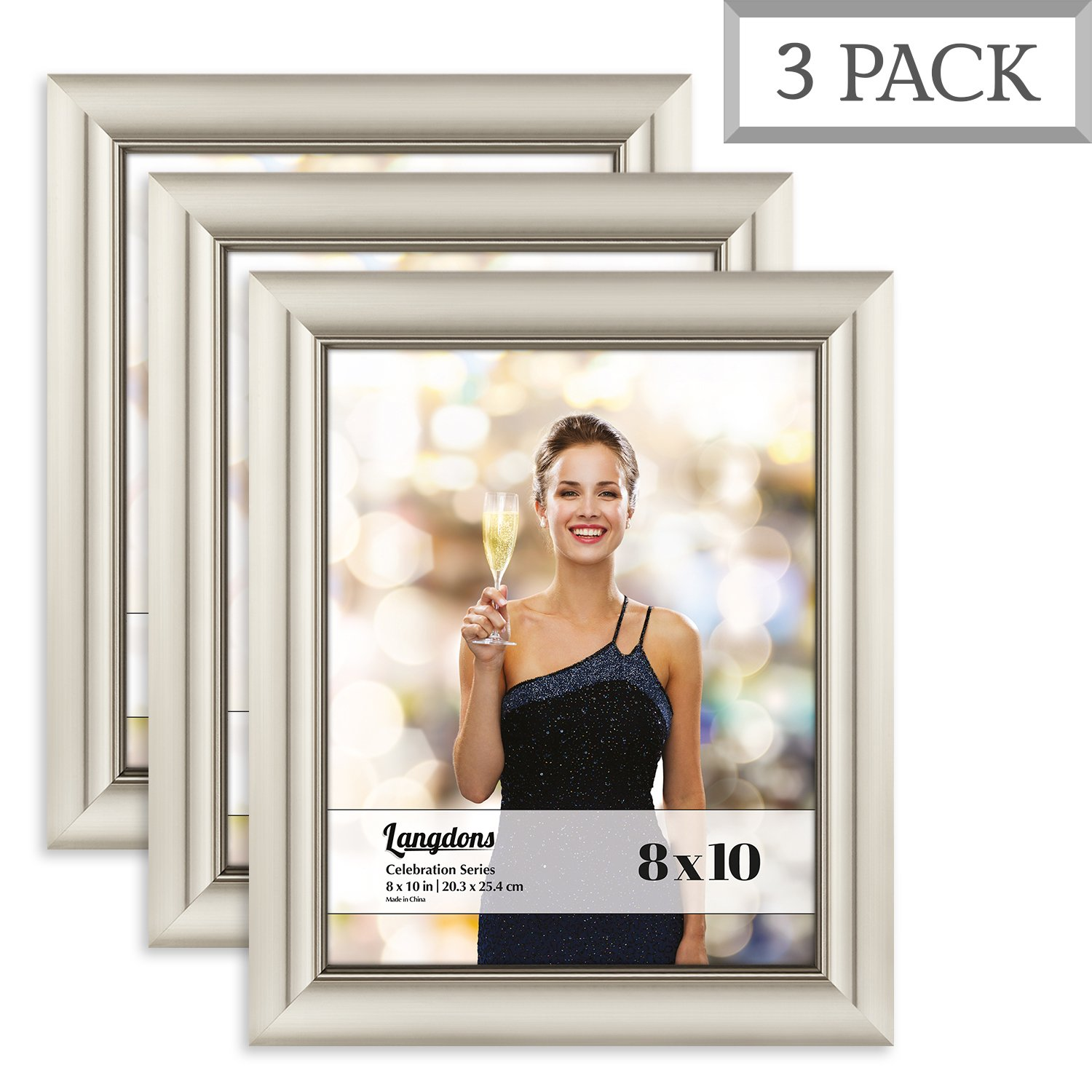Langdons 8x10 Picture Frame Set (3 Pack, Champagne Picture Frame) Photo Frame 8x10, Wall Hang or Table Top Display, 8 x 10 Frame - Champagne Gold Picture Frame, Celebration Series