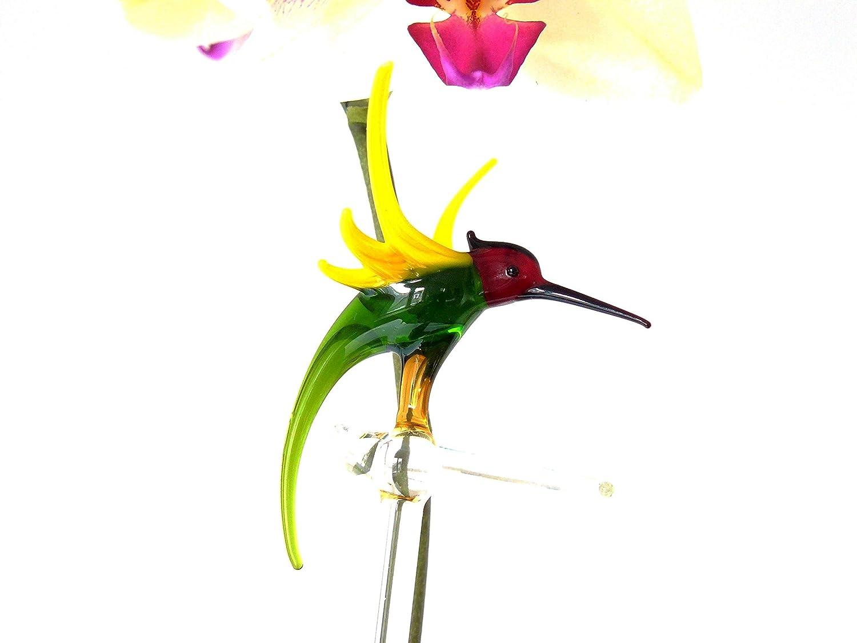 Rankhilfe Orchideenst/äbe Orchideenstab aus Glas mit Papagei Blumenstab
