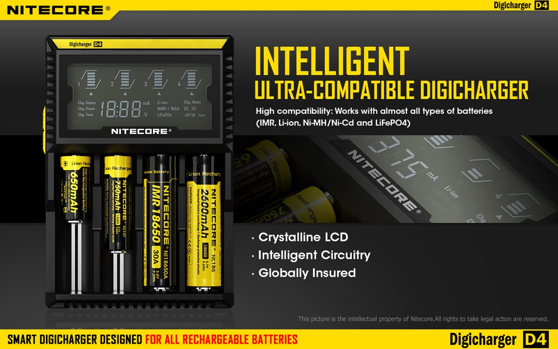 Nitecore D4 18650 Battery Charger