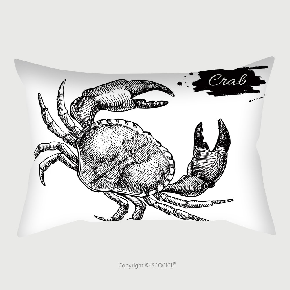 Custom Satin Pillowcase Protector Vector Vintage Crab Drawing Hand Drawn Monochrome Seafood Illustration Great For Menu Poster Or 383322967 Pillow Case Covers Decorative by chaoran