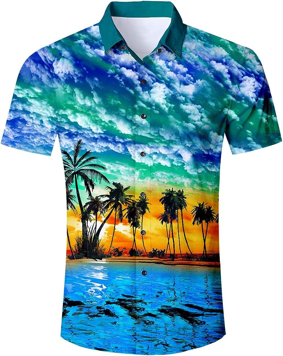 ALISISTER Camisa Hawaiana Hombre Estampado en 3D Botón Informal Abajo Playa Camisa Manga Corta Aloha de Vacaciones Camiseta Foral