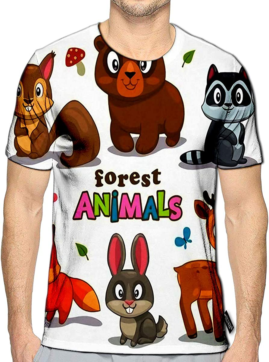 3D Printed T Shirts Cute Cartoon Forest Animals Childish Casual Mens Hipster Top Tees