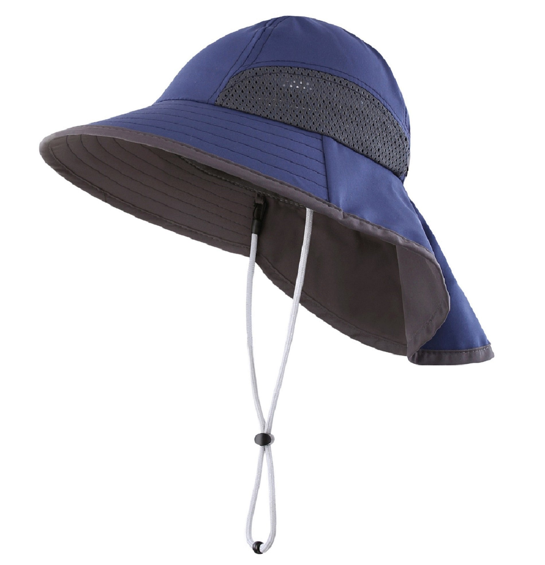 Connectyle Kids Summer Wide Brim UPF 50+ Mesh Sun Hats with Neck Flap UV Sun Protection Bucket Hat Navy by Connectyle