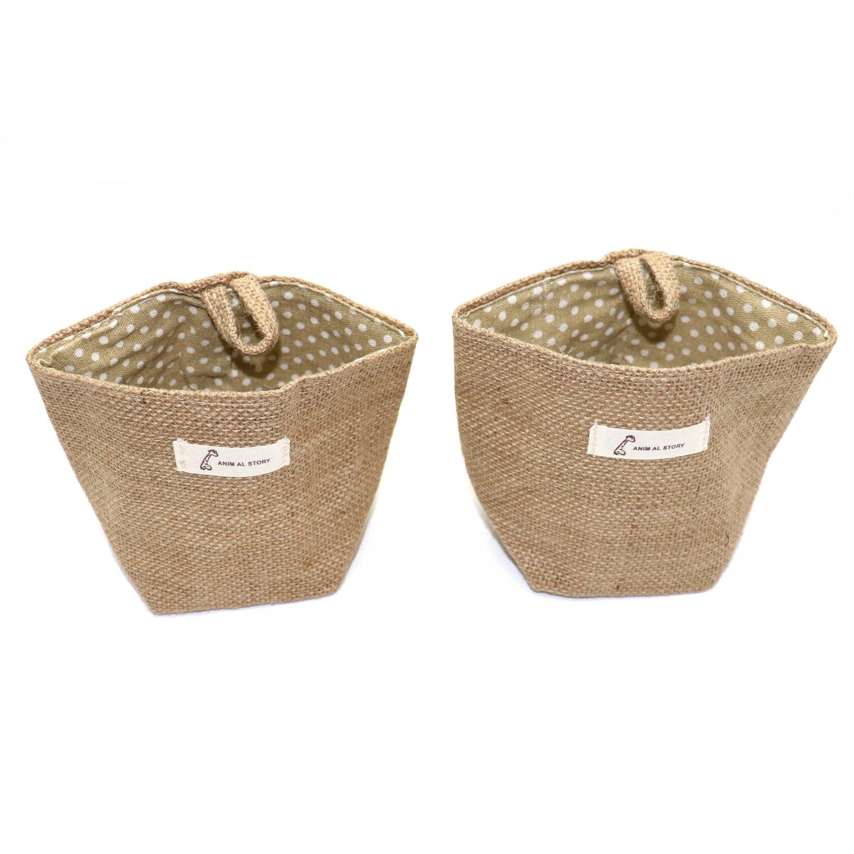 Buorsa 2 Pcs Mini Linen Cotton Wall Door Hanging Storage Bag Basket Desktop Woven Basket Collapsible Convenient Storage Bin ,5.5x4.9 Inch