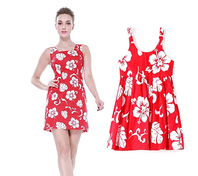 3e3712a580 Matching Mother Daughter Hawaiian Luau Outfit Lady Tank Dress Girl Dress PW  Red Hibiscus S-