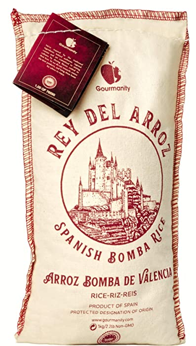 Rey del ArrozAuthentic DeliciousSpanish Bomba Rice| 2.2 Pound Sack | Spanish Rice/Pilaf for Paella | Grown in the natural reserve of L'Albufera de ValènciaMade By a family-run businesssince 1968