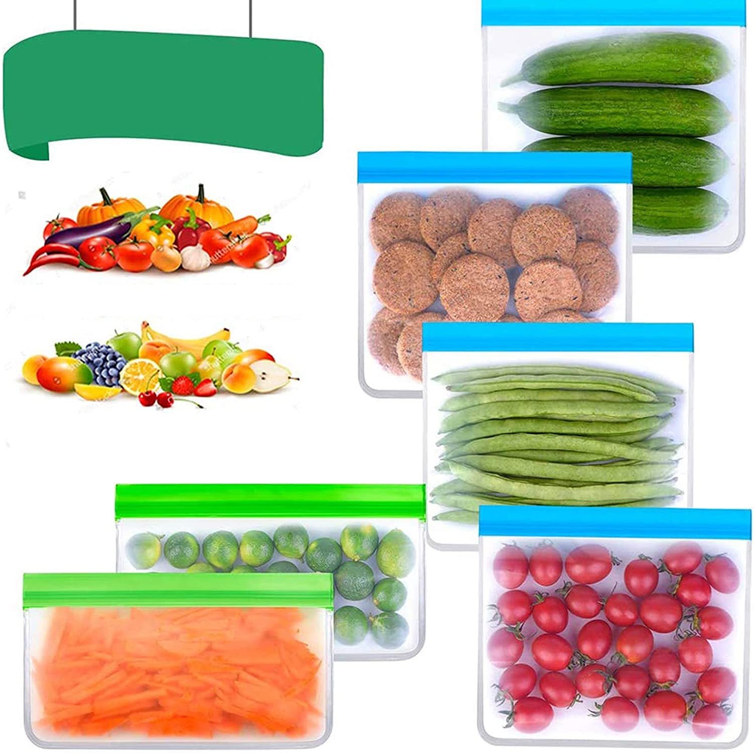 Reusable Storage Bags Silicone Freezer Bags 10 Pack Reusable Sandwich Bags Leakproof Zip lock Bags Eco-friendly BPA FREE for Snack Meat Fruits Cereal Gallon Large Plastic Food Containers (6 Pack)