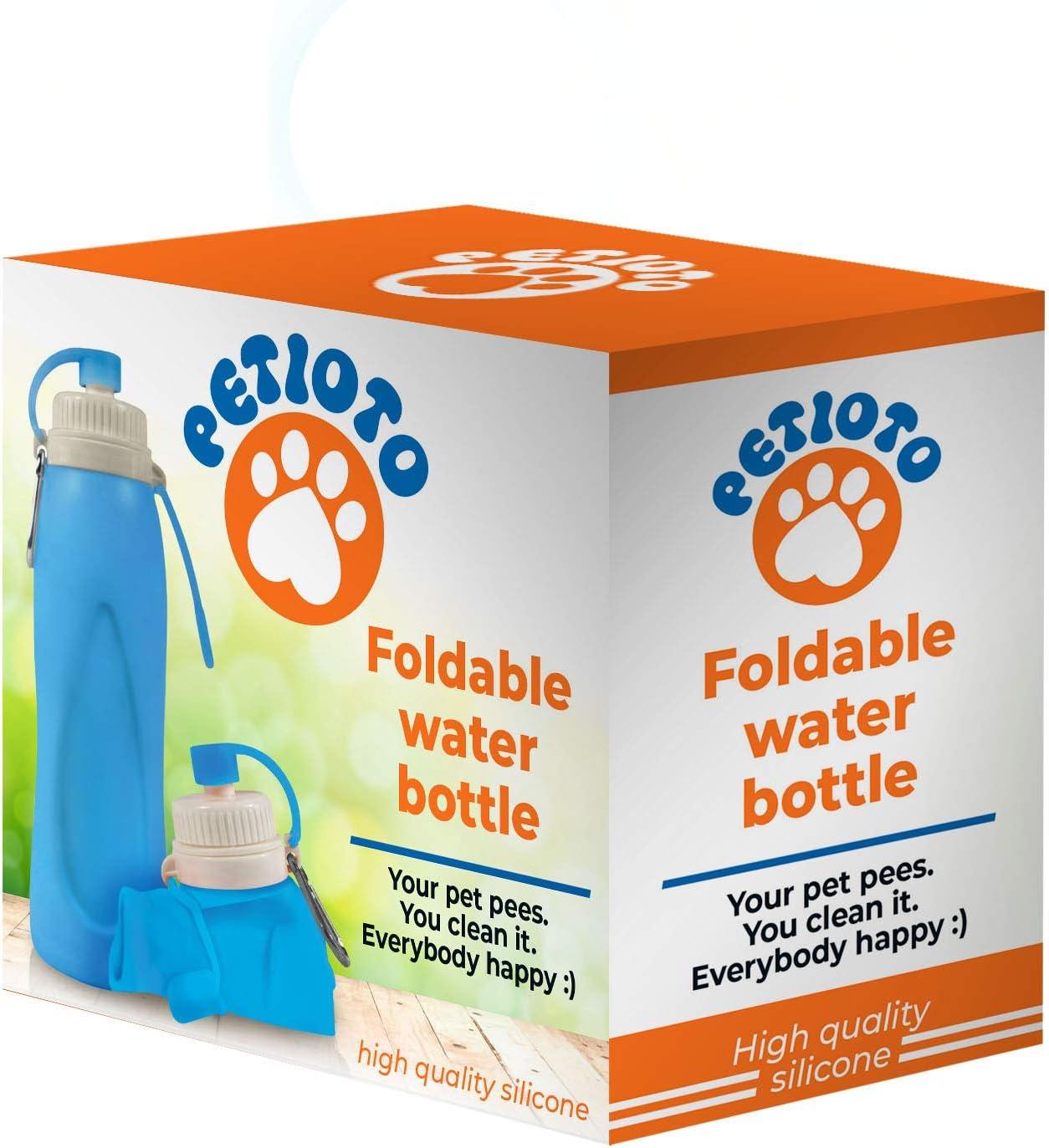 Petioto - Botella de Agua Plegable – 500ml - Mantén tu Ciudad Limpia y Libre de olores - Diluye el pipí de tu Mascota en Cada Paseo - Libre de BPA - Silicona