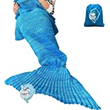 "LAGHCAT Mermaid Tail Blanket Crochet and Mermaid Blanket for adult, Super Soft All Seasons Sleeping Gifts Blankets, 71""x35.5"", Blue"