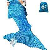 "LAGHCAT Mermaid Tail Blanket Crochet Mermaid Blanket for Adult, Soft All Seasons Sleeping Blankets, Classic Pattern (71""x35.5"", Blue)"