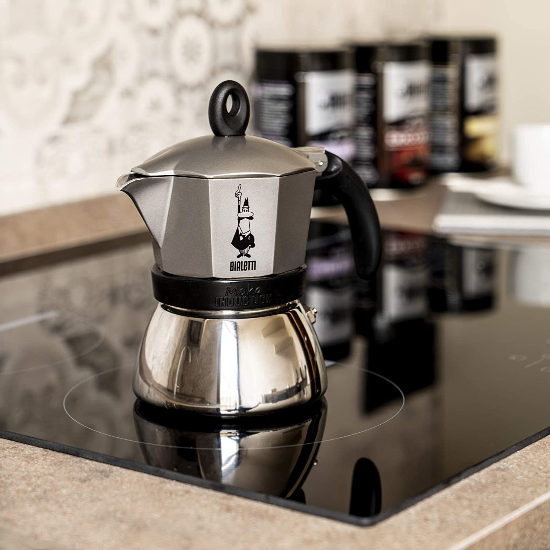Bialetti Moka Induction, cafetera con Base de Acero para inducción, Color Gris, 3 Tazas