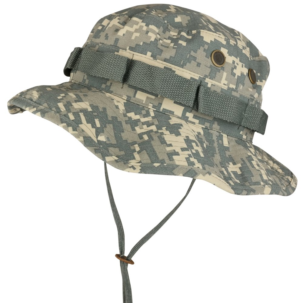 341023eb678 Amazon.com  Armycrew Ripstop Tear Resistant Cotton Jungle Boonie Cap with  Chin Strap  Clothing