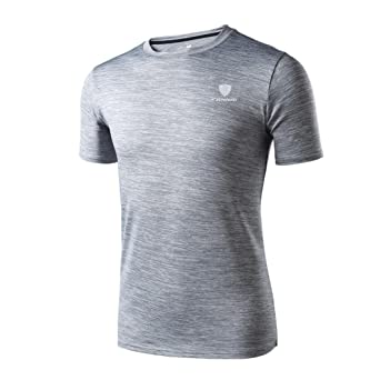 Camiseta de manga corta Hombre Polainas de entrenamiento para hombre Fitness Sports Gym Running Yoga Camisa atlética Top Blusa LMMVP (Gris, XL)