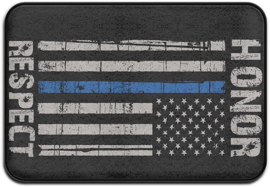 VSFDDD Delgada línea Azul Americano Bandera Honor Respeto Policía Interior/al Aire Libre Felpudo 2416 (: Amazon.es: Hogar