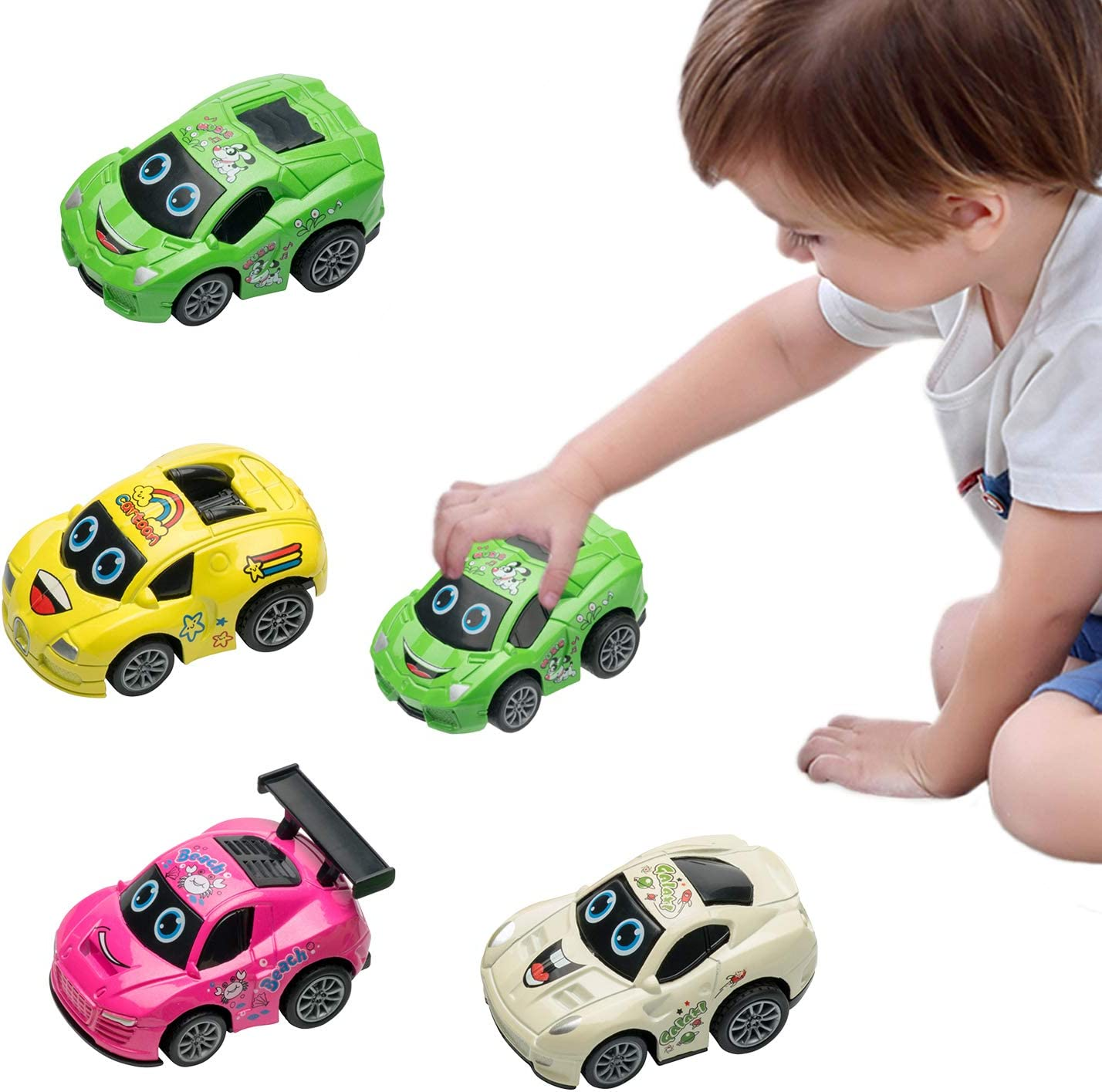 HUENLYEL Pull Back Toys Cars for Toddlers 1 2 3 Year Old Boys Girls Gift,Push and Go Friction Powered Cars Toys for Toddlers,Pull Back Vehicles Car Toys for Toddlers Christmas Birthday Gift