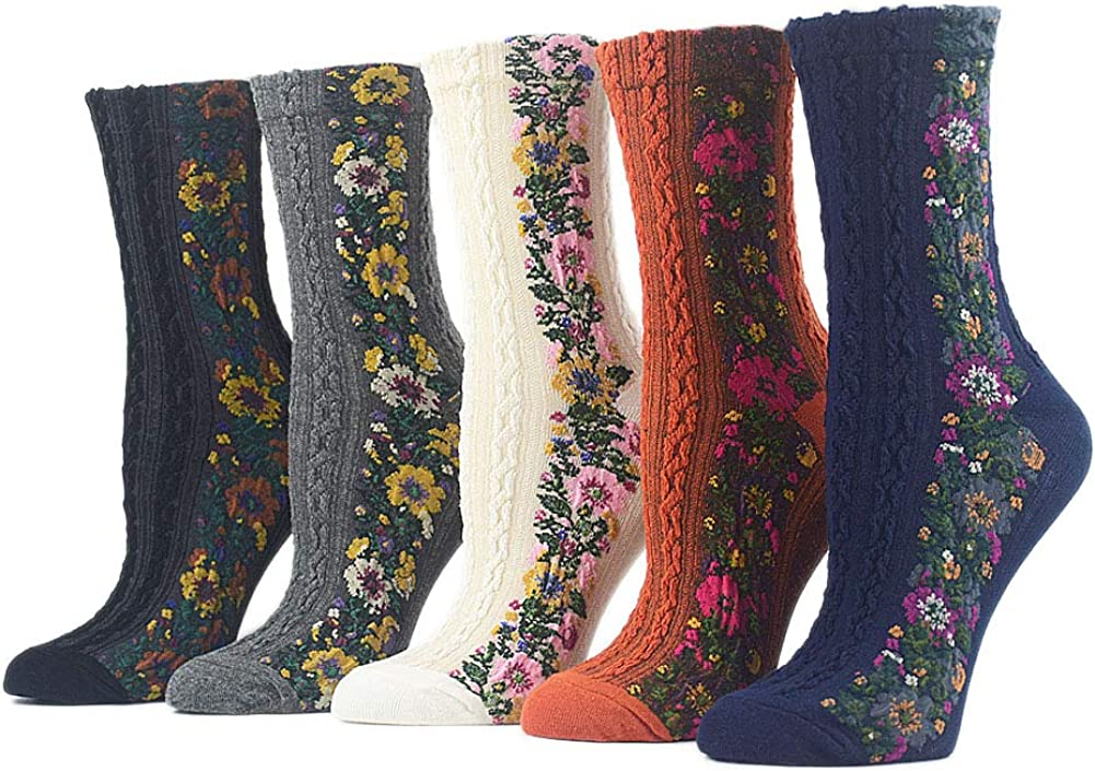 ZZIYEETTM 5 Pairs Women Nordic Stripe Flower Socks Girls Vintage Ethnic Floral Cotton Socks