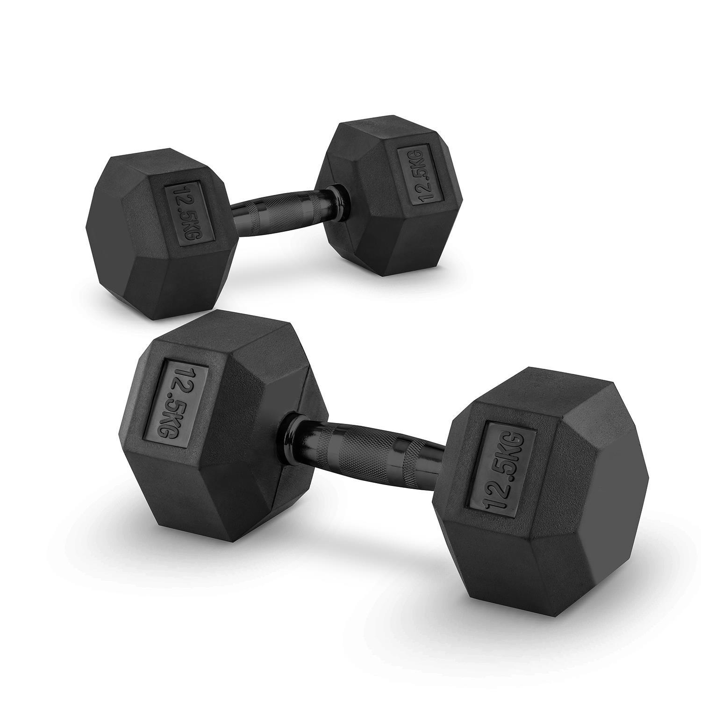Capital Sports Hexbell Dumbbell Par de Pesas 2 x 12,5 kg (recubiertas de resistente goma dura, barra de acero negro con estrías, máxima sujeción, ...