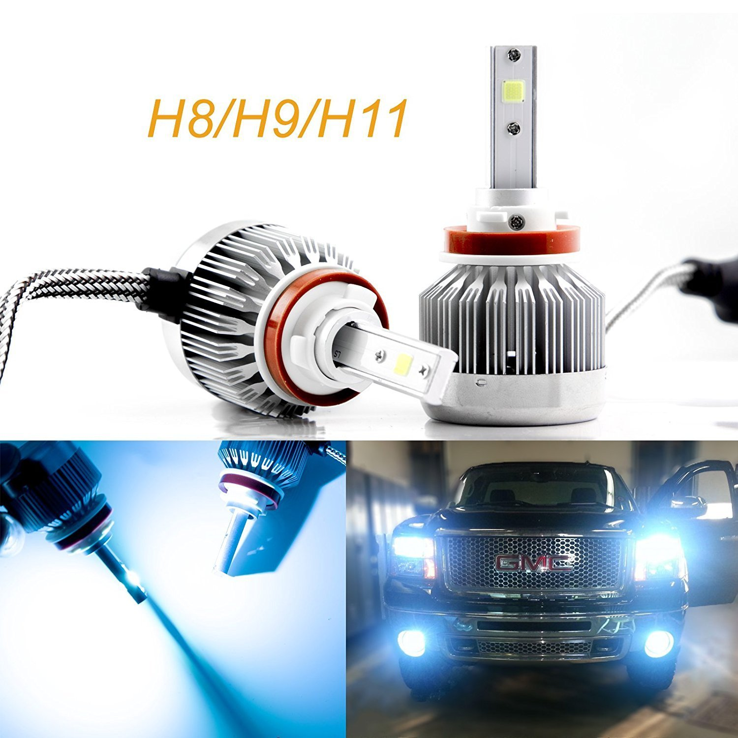 2pcs H8 H9 H11 Ice Blue 8000K COB LED Headlight Bulbs Conversion Kit For High/Low Beam Daytime Running Lights Xotic Tech Direct .