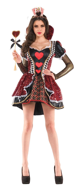Sexy Women's Queen of Hearts Sequin and Satin 3-Tier Skirt Costume Dress - DeluxeAdultCostumes.com