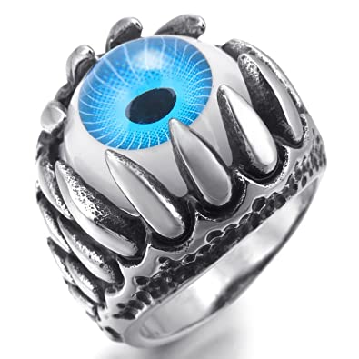 MunkiMix Stainless Steel Ring Silver Tone Black Grey White Skull Dragon Claw Evil Devil Eye Men c8a5wF