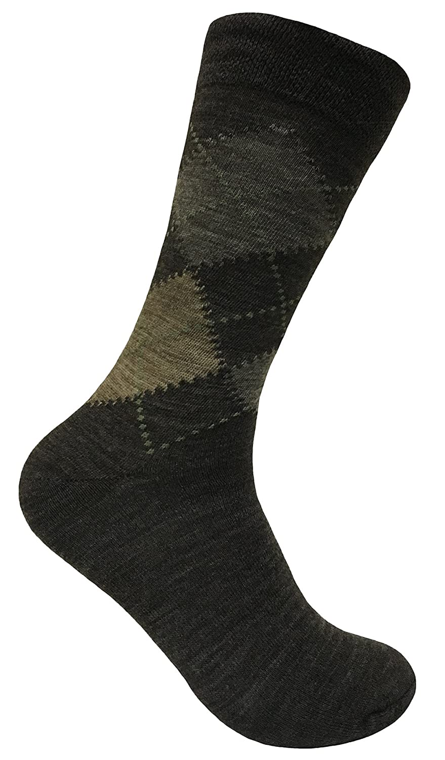 3 Pack Mens Thin Warm Lambs Wool Blend Argyle Patterned Hiking Crew Socks (7-12 US, SED Brown) at Amazon Mens Clothing store: