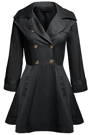 Romanstii Outwear Jacket Double-breasted Long Sleeve Trench Windbreaker Women CaF8