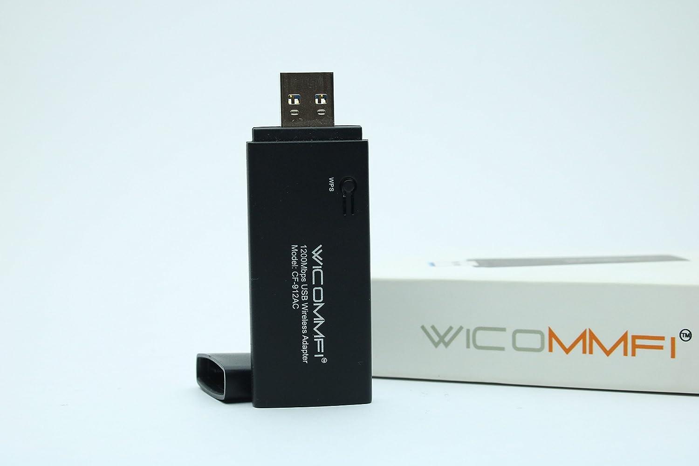 WICOMMFI USB 3.0 Wireless Adapter 1200 Mbps Black