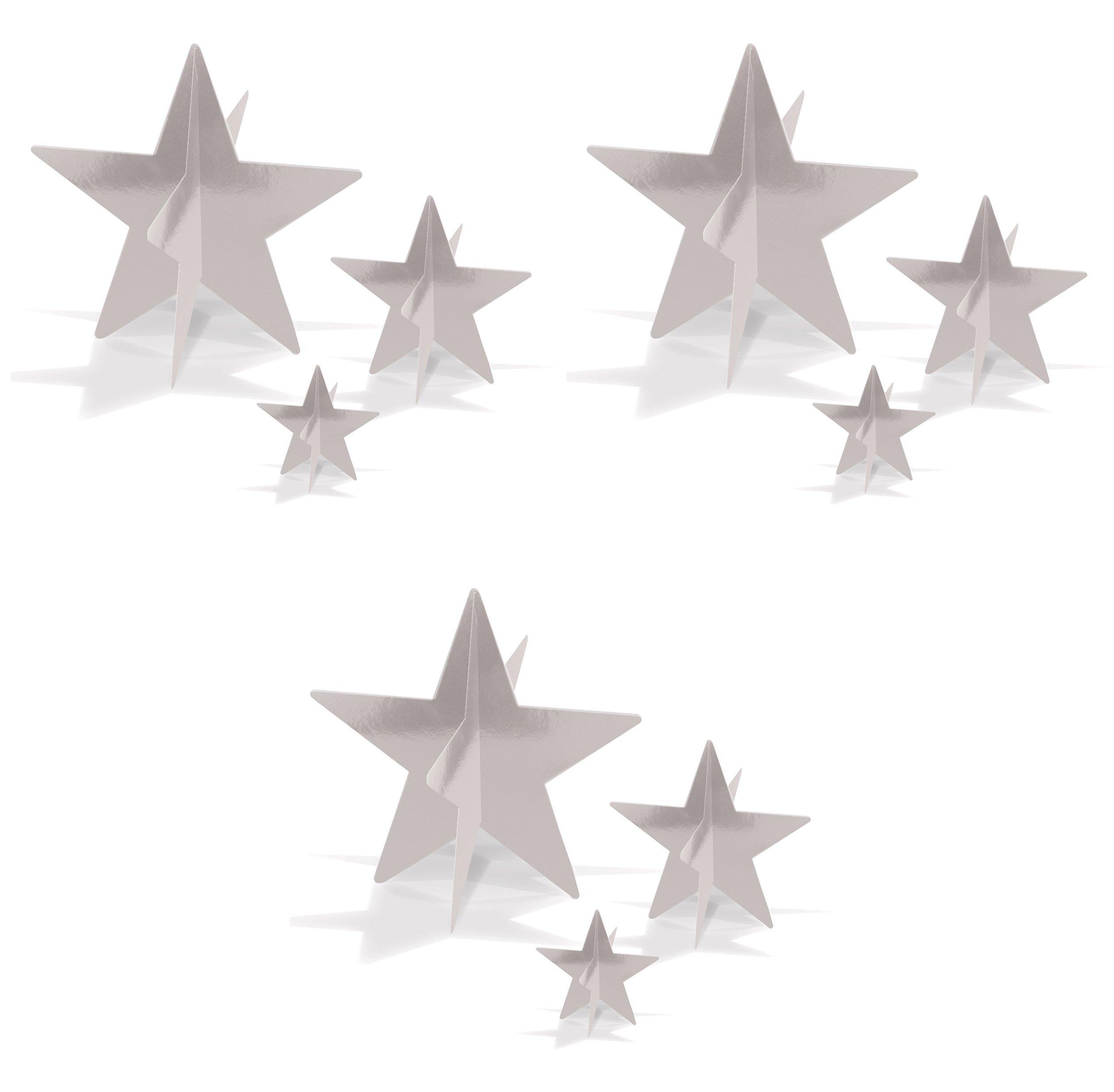 Beistle 52148-S, 9 Piece 3-D Foil Star Centerpieces, 3'' - 8'' (Silver)