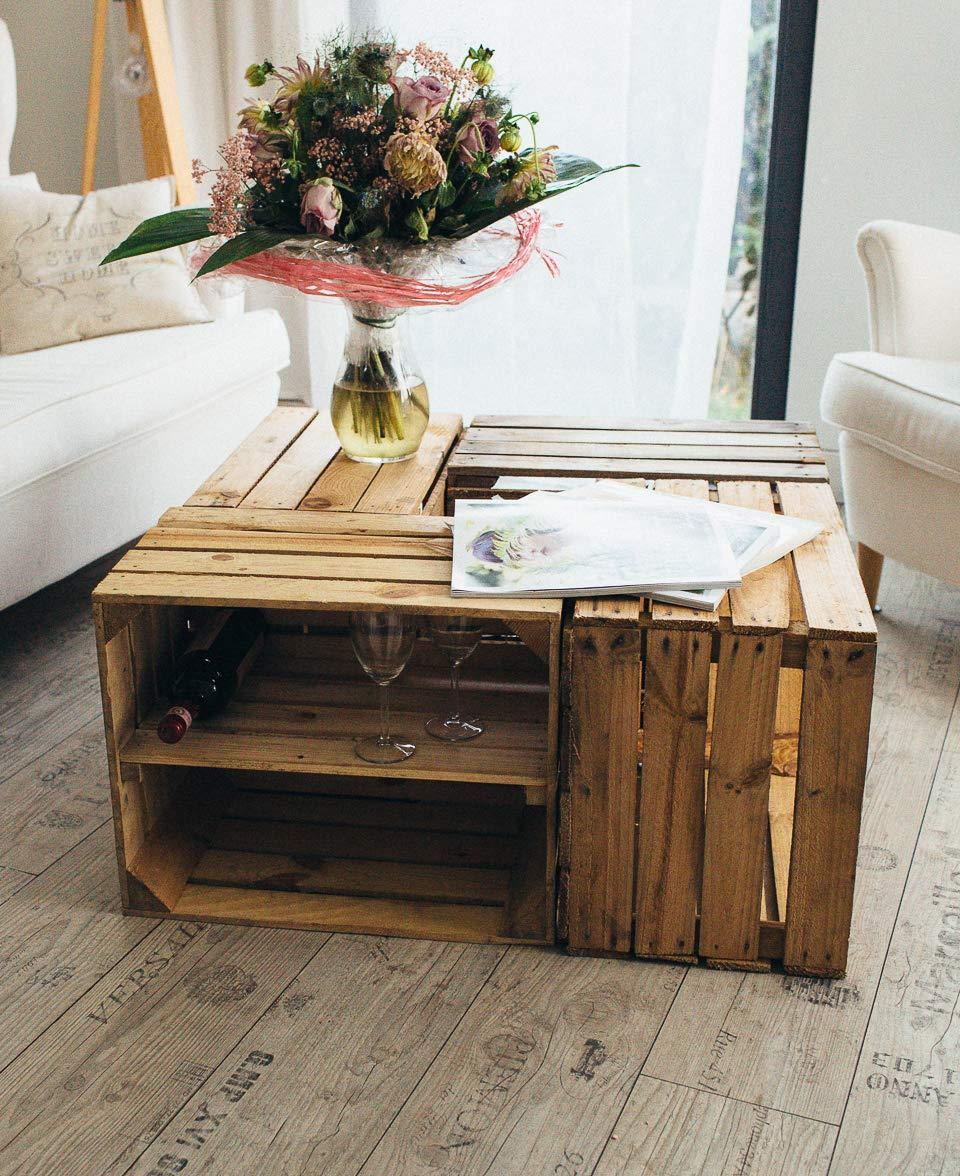 Ideal als Regal f/ür Wein//Schuhe//B/ücher 2 x Boden L/ängs Couchtisch Teramico 4er Sets Holzkisten Vintage Used 50 x 40 x 30cm MASSIV und STABIL