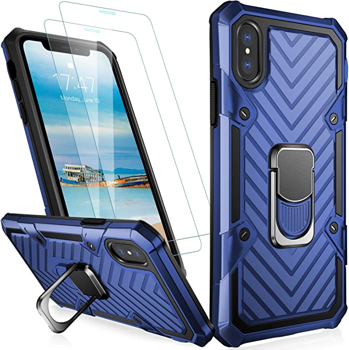 MERRO iPhone XR Case with Screen Protector[2 Pack],Pass 16ft. Drop Tested Military Grade Heavy Duty Shockproof Cover with Magnetic Kickstand,Protective Phone Case for Apple iPhone XR Blue