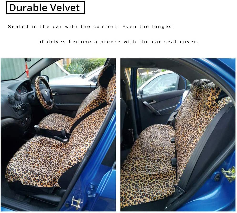 SUV Leopard or Van Audel Zebra Car Seat Cover Set with 2 Seat Belt Pads /& Universal 15 Inch Steering Wheel Cover Fit for Car Truck