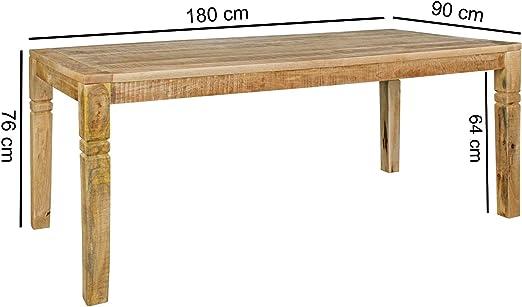 KS-Furniture Rustica - Mesa de Comedor (180 x 90 x 76 cm, Madera ...