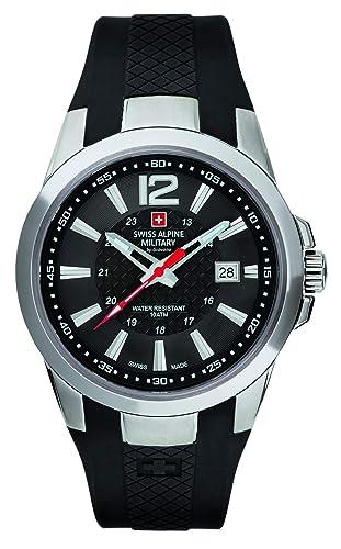 Swiss Alpine Military by Grovana Reloj de hombre negro 70581837 10 ATM Swiss Made: Amazon.es: Relojes