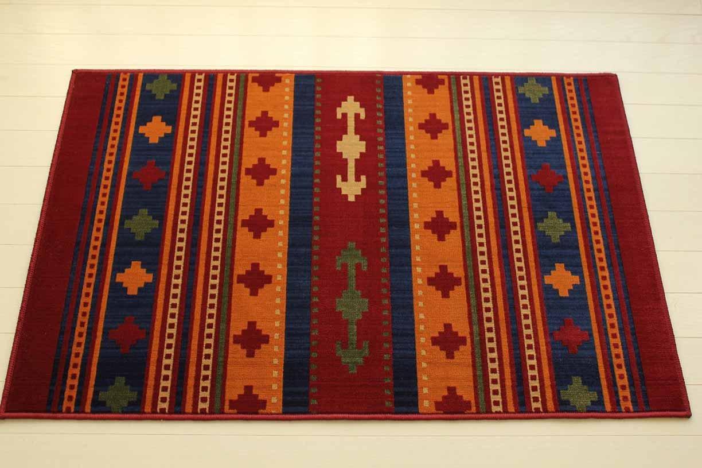屋内 用 薄型 玄関 マット マラティア モケット織り レッド 約 60×90 cm キリム 柄