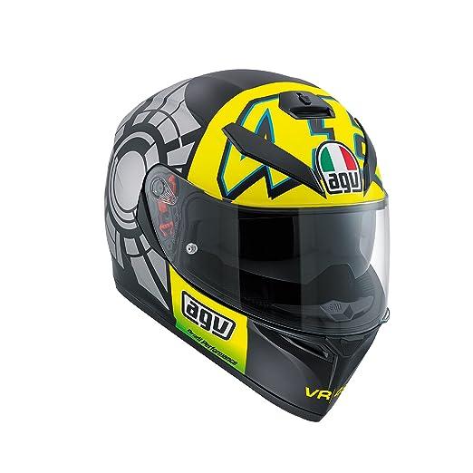 Amazon.es: AGV K3 SV Rossi Casco integral para moto de invierno, con visera para el sol, color negro
