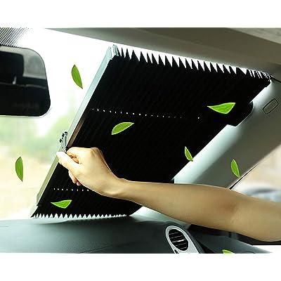 MarvellousCar Windshield Sun Shade,Accordion Style Retractable Sun Shade,Front Window UV Heat Insulation Universal Car Sun Shades Keep Your Vehicle Cool: Automotive