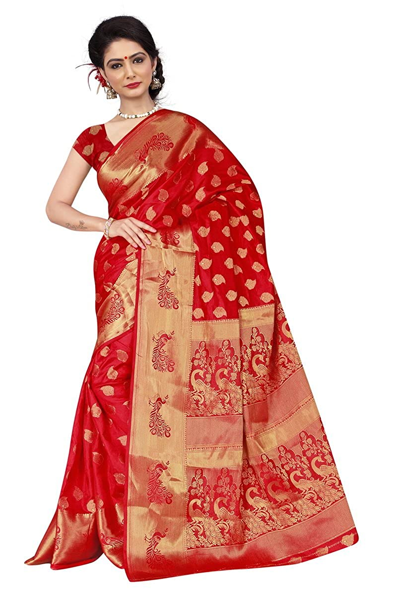 0be502f298 Monjolika Fashion Women's Silk Saree Red: Amazon.in: Clothing & Accessories