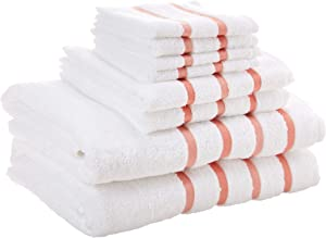 Comfort Spaces Cotton 8 Piece Bath Towel Set Striped Ultra Soft Hotel Quality Quick Dry Absorbent Bathroom Shower Hand Face Washcloths, 28x54, Blush