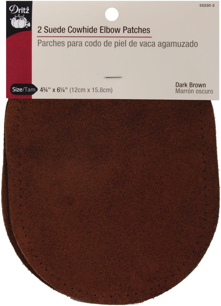 "Dritz patchs Coude en daim cuir de vache 4–3/4""X 6–5/82/Pkg-Dark Marron"