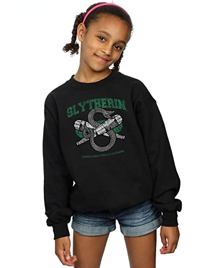 a3fa840c6d7 Amazon.com: HARRY POTTER Girls Slytherin Quidditch Emblem Sweatshirt ...