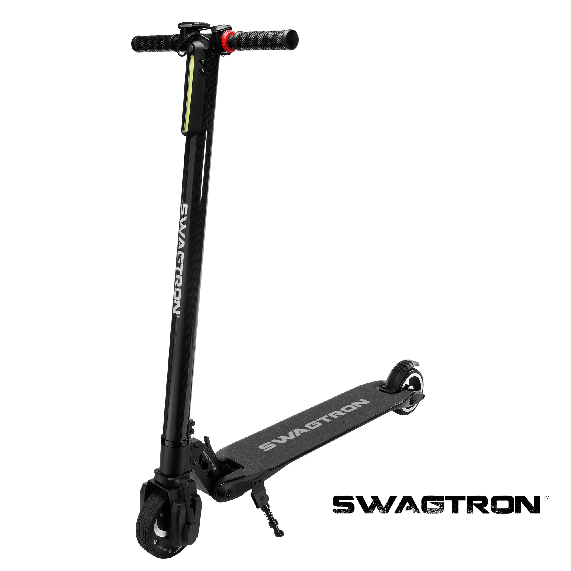 Swagtron SWAGGER 1, BLACK High Speed Adult Electric Scooter; Ultra-Lightweight Carbon Fiber; Easy Fold-n-Carry Design (Black) by Swagtron