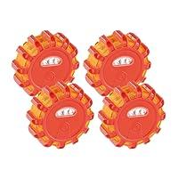 Lescars Warnlicht: Rundum-Warnblinkleuchte mit Roten & weißen LEDs, 5 Leuchtmodi, 4er-Set (Warnleuchten)