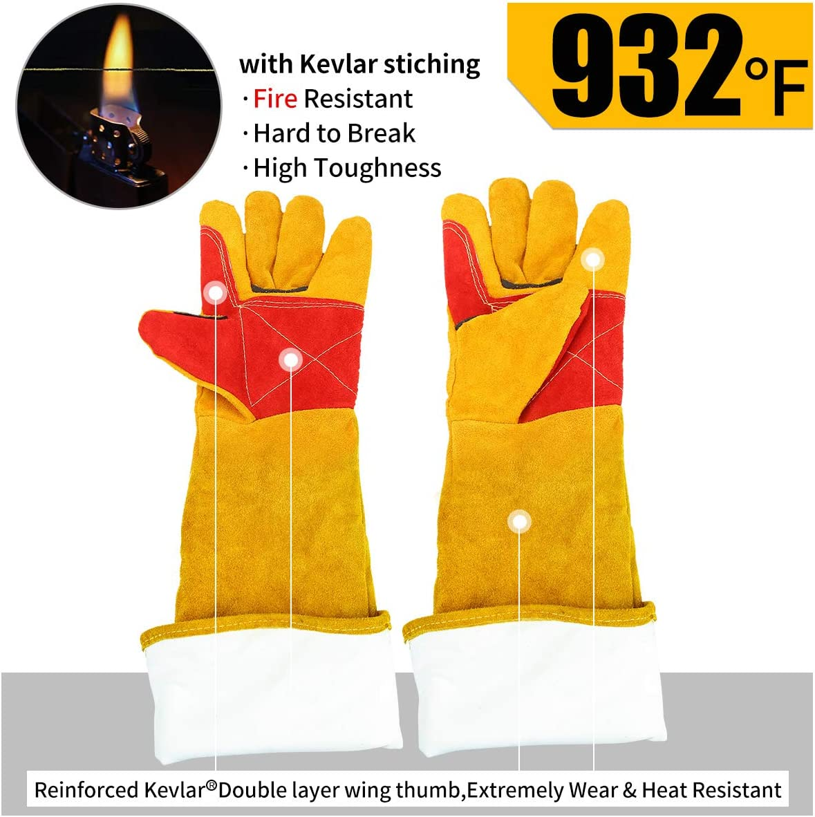 Leather Welding Gloves Large Yellow Shoulder Split Cowhide 23 inchs Length Forearm Protection Heat//Fire Resistant,Mitts for BBQ,Oven,Fireplace,Tig,Mig,Baking Animal Handling Glove.932℉