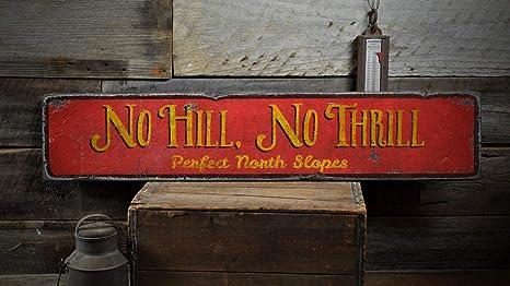 YCCCYOZ Cartel de Madera Texto en inglés No Hill No Thrill ...