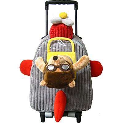 hot sale 2017 Kreative Kids Adorable Airplane Rolling Backpack w/ Removable Stuffed Toy & Wheels