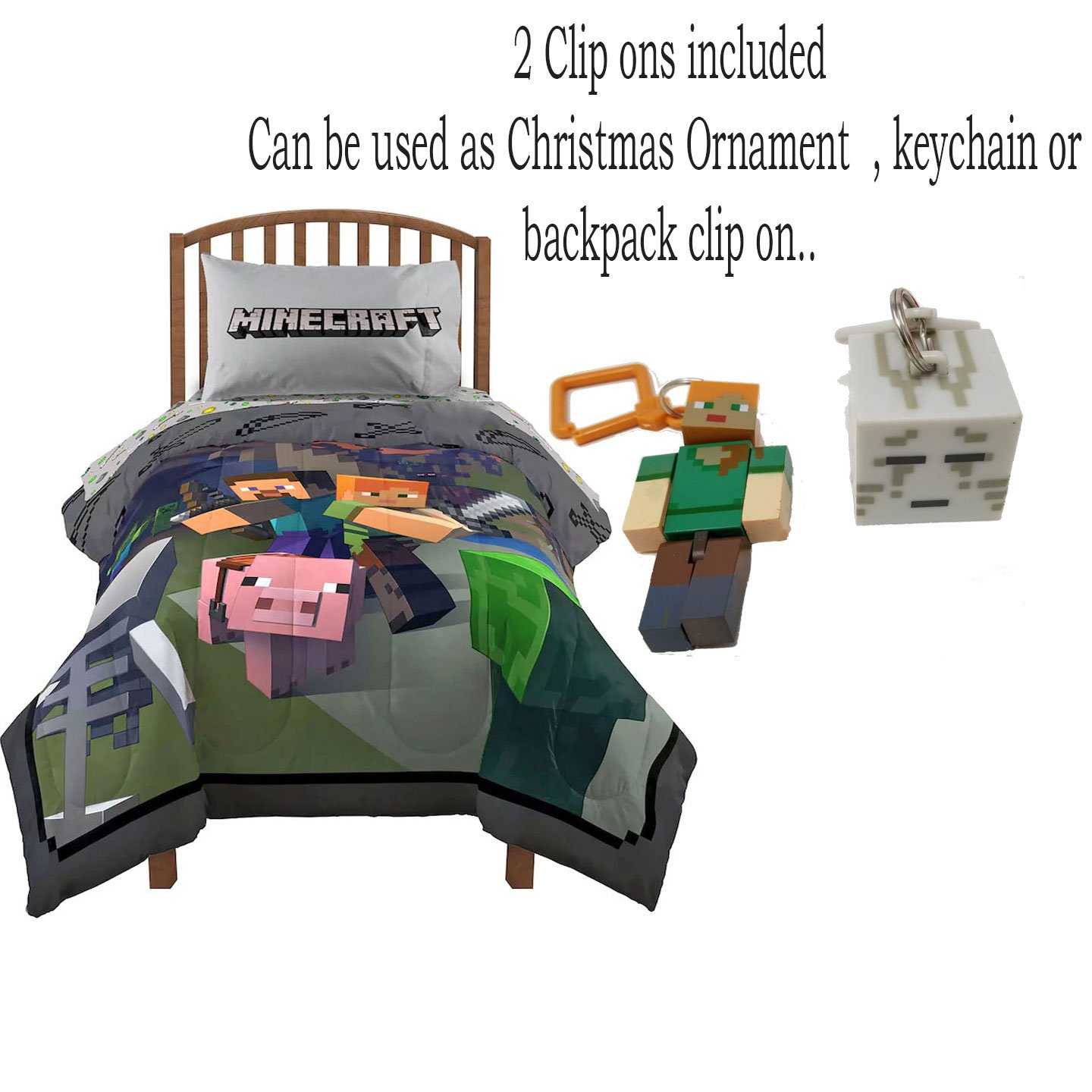 Minecraft Twin Bedding Bed in a Bag Comforter and Sheet Set with Minecraft Keychain / Christmas Ornament (Twin)