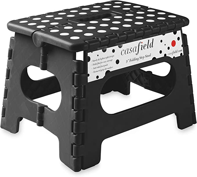 Amazon Com Casafield 9 Folding Step Stool With Handle Black Portable Collapsible Small Plastic Foot Stool For Kids And Adults Use In The Kitchen Bathroom And Bedroom Furniture Decor